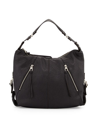 Lauren Leather Hobo Bag, Black