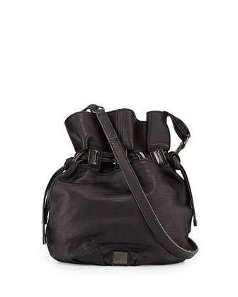Echo Leather Bucket Bag, Black