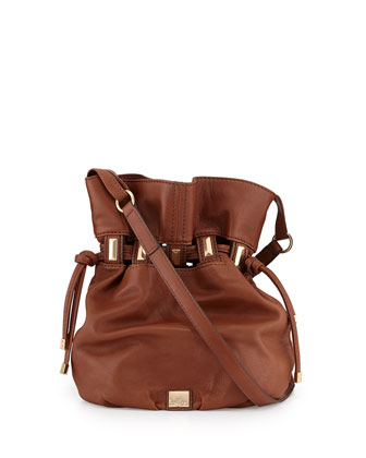 Echo Leather Bucket Bag, Earth