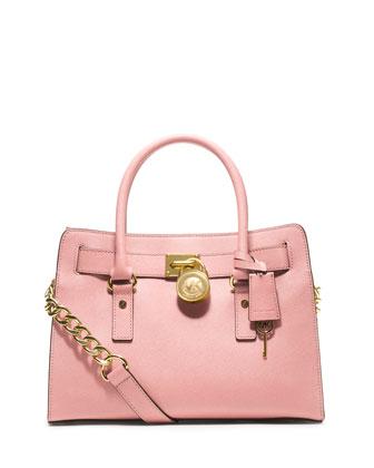 Hamilton Saffiano Satchel Bag, Blossom