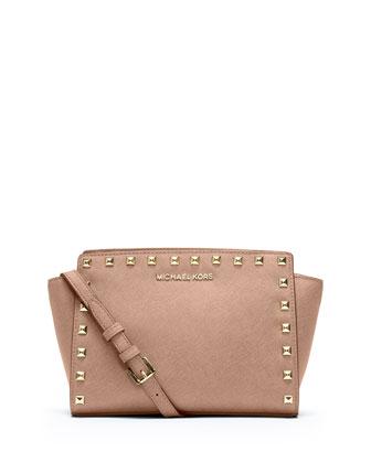 Selma Stud Medium Messenger Bag, Blush