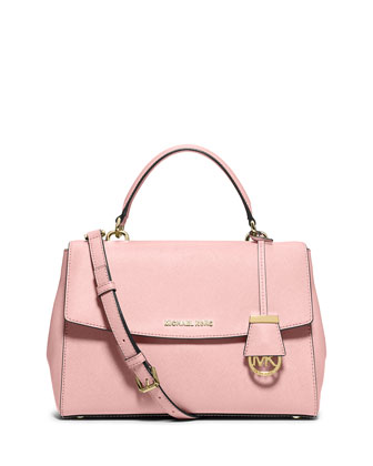 Ava Medium Saffiano Satchel Bag, Blossom
