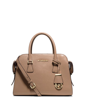 Harper Medium Satchel Bag, Dark Khaki
