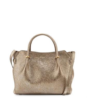 Marche Lambskin Satchel Bag, Bronze