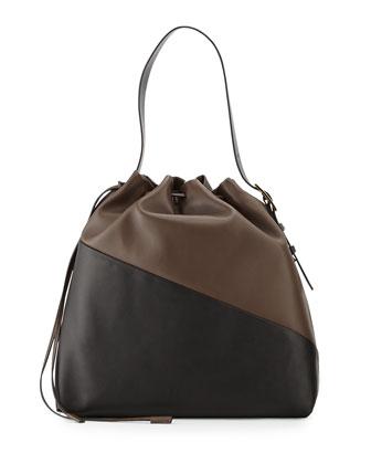 Bicolor Belted Shoulder Bag, Brown/Black