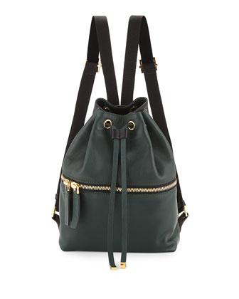 Zaino Two-Tone Leather Backpack, Dark Green/Black