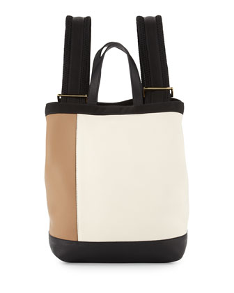 Parachute Tricolor Backpack, White/Beige/Black