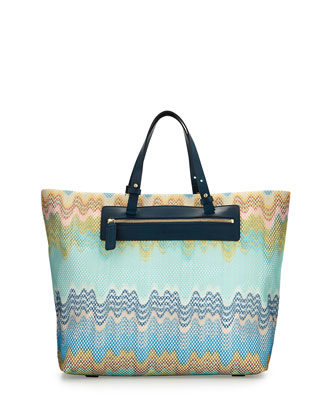 Solid Wave-Pattern One-Piece Swimsuit & Multicolor Wave-Print Beach Tote Bag