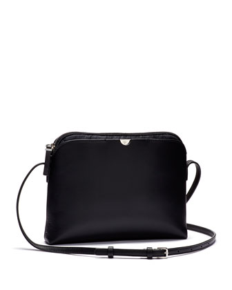 Multi-Pouch Calfskin Crossbody Bag, Black/Navy