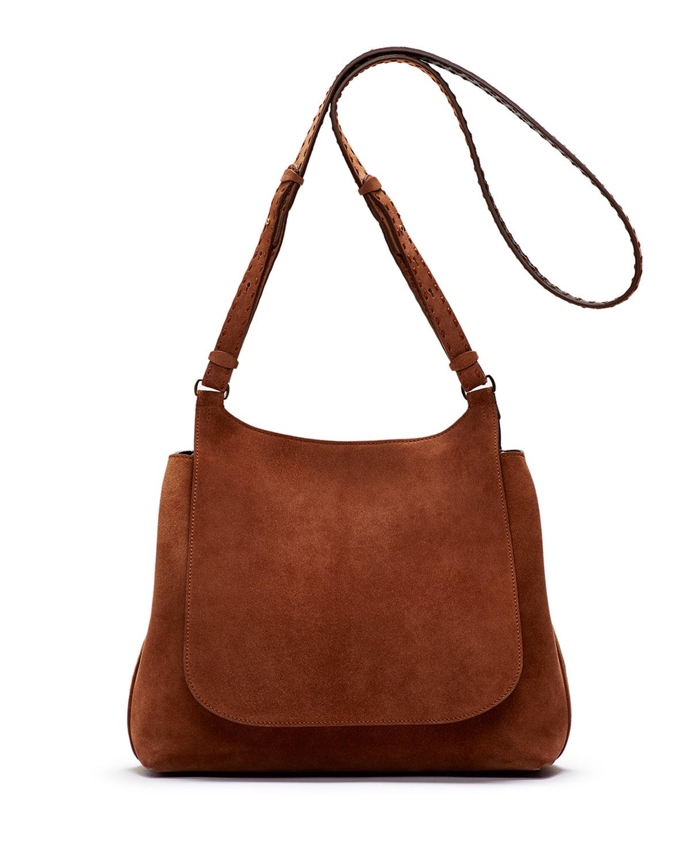 Sideby Suede Shoulder Bag, Saddle - THE ROW