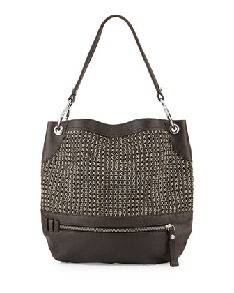 Faye Chain Weave Hobo Bag, Forest
