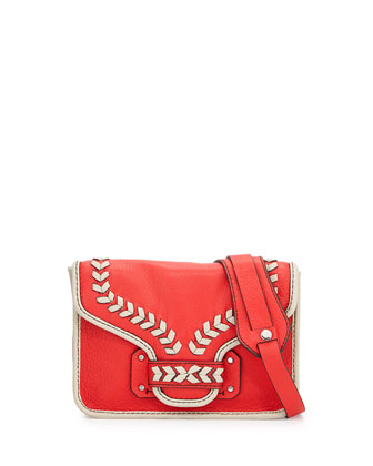Reilly Contrast-Trim Crossbody Bag, Berry