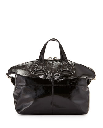 Nightingale Medium Patent Satchel Bag, Black