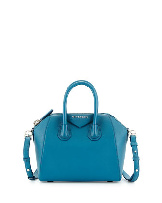 Antigona Mini Leather Satchel Bag, Oil Blue