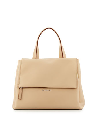 Pandora Pure Medium Waxy Calf Satchel Bag, Light Beige