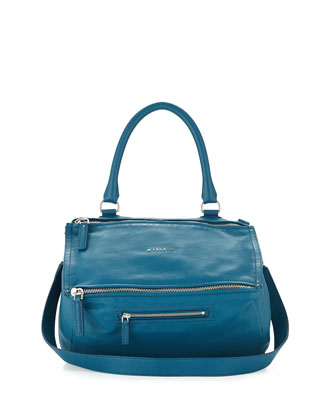 Pandora Medium Leather Satchel Bag, Oil Blue