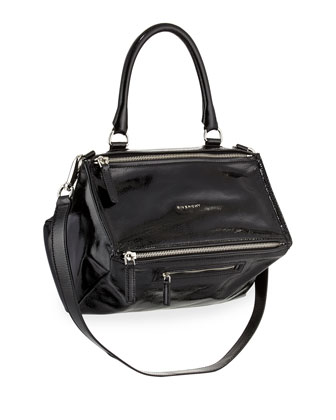 Pandora Medium Patent Leather Satchel Bag, Black