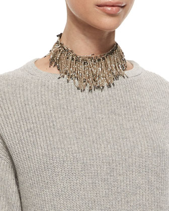Beaded Fringe Choker Necklace & Flutter Hem Cashmere Sweater Dress