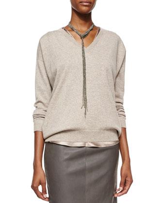 Cashmere Boyfriend V-Neck Sweater, Reversible Satin V-Neck Bias-Cut Tank & ...