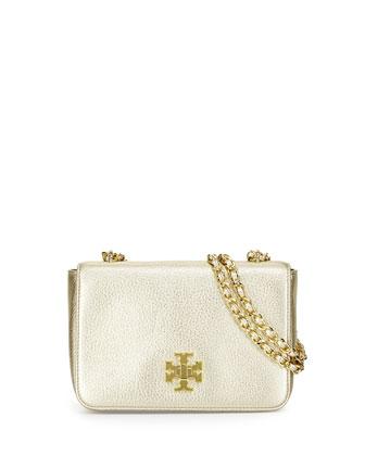Mercer Pebbled Leather Shoulder Bag, Light Gold