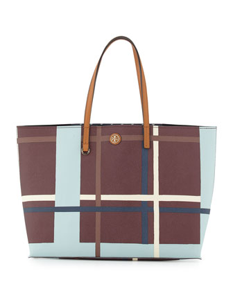 Kerrington Square Jumbo Plaid Tote Bag, Berry
