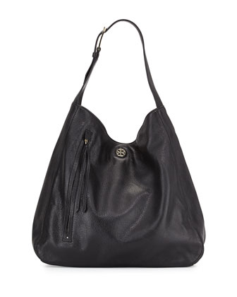 Brody Pebbled Leather Hobo Bag, Black