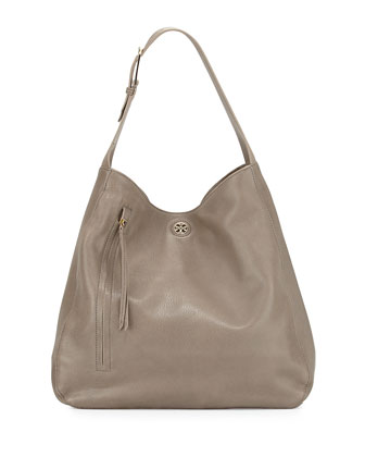 Brody Pebbled Leather Hobo Bag, Porcini