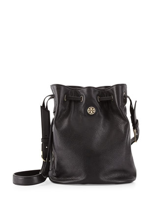 Brodie Pebbled Leather Bucket Bag, Black