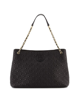 Marion Chain-Strap Shoulder Slouch Bag, Black