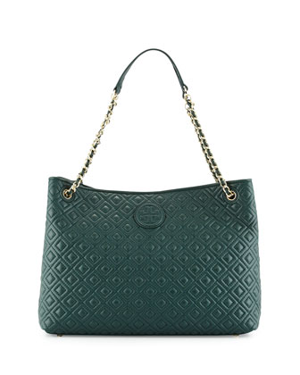 Marion Quilted Slouch Shoulder Bag, Jitney Green