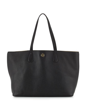 Perry Leather Tote Bag, Black/Beige