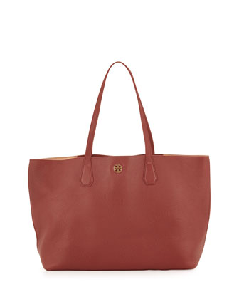 Perry Leather Tote Bag, Deep Berry/Tea