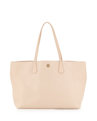 Perry Leather Tote Bag, Light Oak/Ginger
