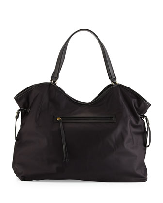 Slouchy Nylon Tote Bag, Black