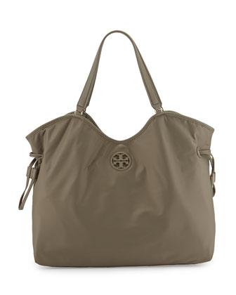 Slouchy Nylon Tote Bag, Porcini
