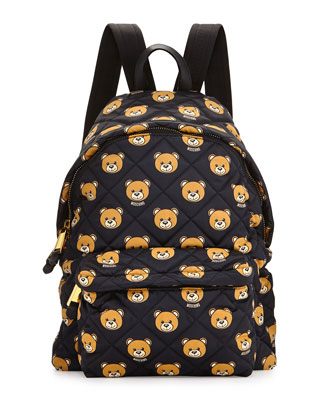 Quilted Teddy Bear Printed Backpack