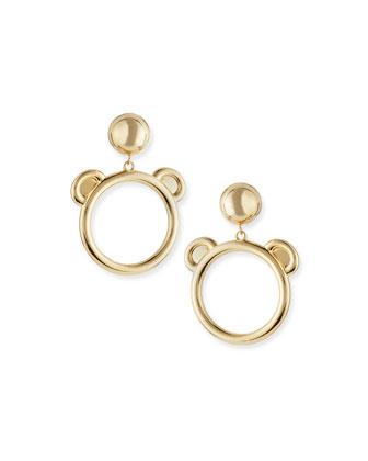 Teddy Bear Golden Bijoux Hoop Earrings