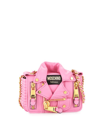 Leather Moto Jacket Shoulder Bag, Pink