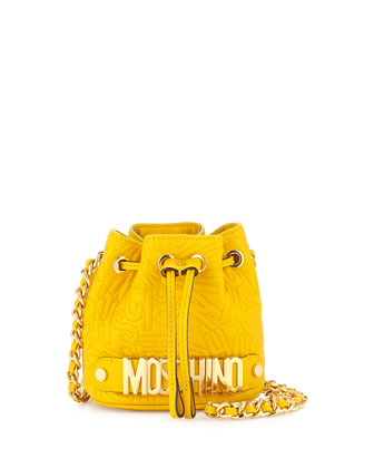 Small Logo Drawstring Shoulder Bag, Yellow