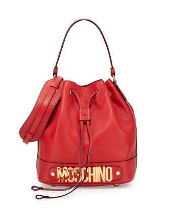 Calfskin Logo Bucket Bag, Red