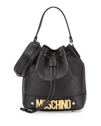 Logo Leather Drawstring Shoulder Bag, Black