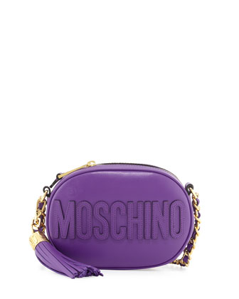 Tassel Shoulder Bag w/Chain Strap, Purple