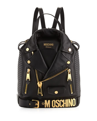 Lambskin Moto Jacket Backpack, Black/Gold