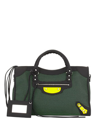 Classic City Mesh Tote Bag, Vert/Black