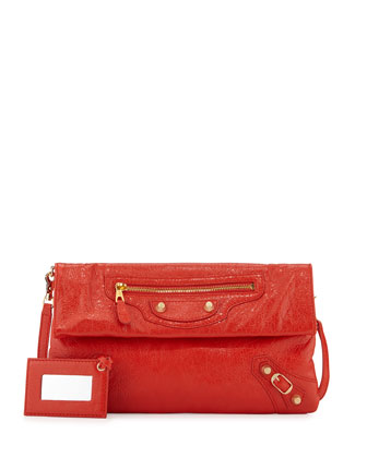 Giant 12 Lambskin Envelope Crossbody Bag, Red Orange
