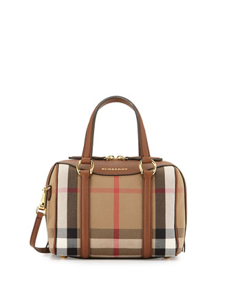 Signature Check Satchel Bag, Tan