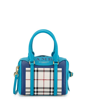 Monogram Check Mini Satchel Bag, Bright Turquoise