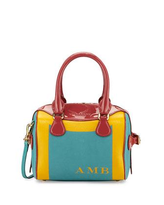 Monogram Patent-Trim Painted Satchel Bag, Aqua Green/Antique Rose