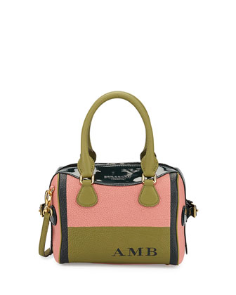 Monogram Patent-Trim Mini Painted Satchel Bag, Antique Pink/Dark Cyan