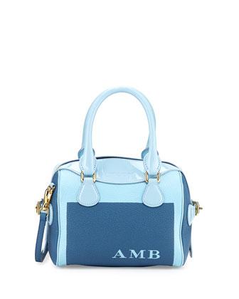 Monogram Patent-Trim Painted Mini Satchel Bag, Bright Blue/Blue